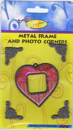 Picture of Metal Frame with Corners Red Heart