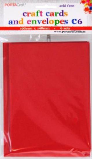 Picture of 6 Sets of C6 Cards & Envelopes Red
