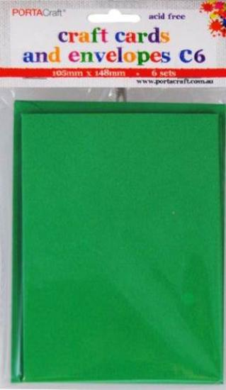 Picture of 6 Sets of C6 Cards & Envelopes Xmas Green