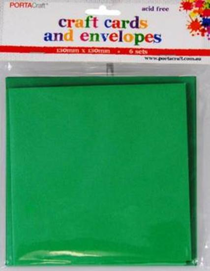 Picture of 6 Sets of Square Cards & Envelopes Xmas Green