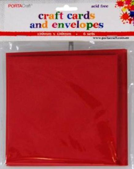Picture of 6 Sets of  Square Cards & Envelopes Red