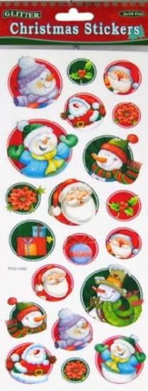 Picture of Christmas Glitter Stickers 2 Sheets Round Snowman