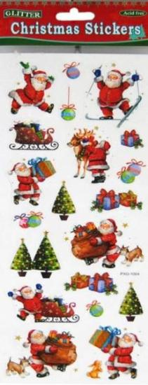 Picture of Christmas Glitter Stickers 2 Sheets Santa Skiing