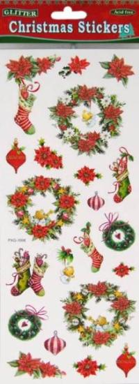 Picture of Christmas Glitter Stickers 2 Sheets Wreath