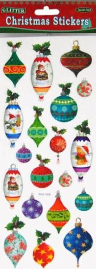 Picture of Christmas Glitter Stickers 2 Sheets Baubles