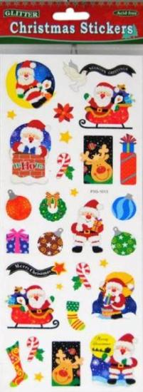 Picture of Christmas Glitter Stickers 2 Sheets Santa & Sleigh