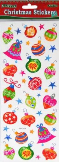 Picture of Christmas Glitter Stickers 2 Sheets Baubles Bright