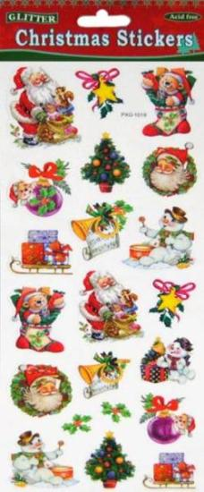 Picture of Christmas Glitter Stickers 2 Sheets Santa with Trumpet