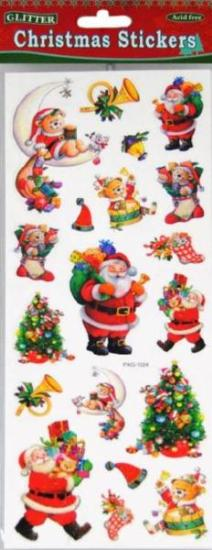 Picture of Christmas Glitter Stickers 2 Sheets Santa & Tree