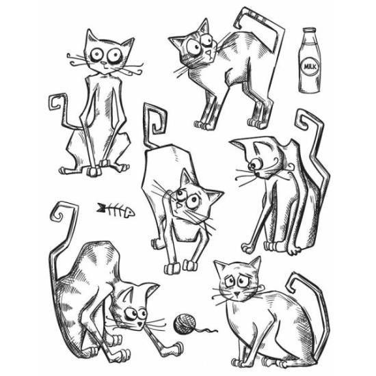 Picture of Tim Holtz - Stampers Anonymous - Crazy Cat Cling Stamp
